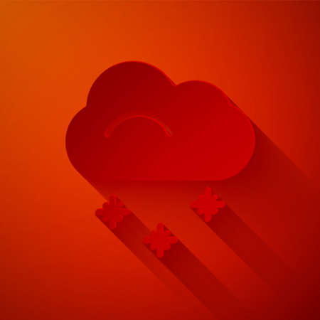 Paper cut Cloud with snow icon isolated on red background. Cloud with snowflakes. Single weather icon. Snowing sign. Paper art style. Vector Illustration.