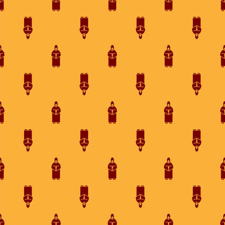 Red Monk icon isolated seamless pattern on brown background. Vector Illustration.