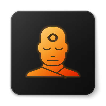 Orange glowing neon Man with third eye icon isolated on white background. The concept of meditation, vision of energy, aura. Black square button. Vector Illustration.