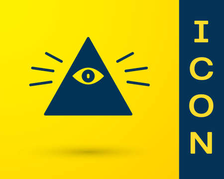 Blue Masons symbol All-seeing eye of God icon isolated on yellow background. The eye of Providence in the triangle. Vector Illustration.