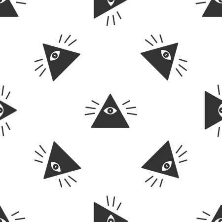 Grey Masons symbol All-seeing eye of God icon isolated seamless pattern on white background. The eye of Providence in the triangle. Vector Illustration. Ilustrace
