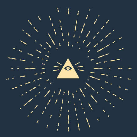 Beige Masons symbol All-seeing eye of God icon isolated on blue background. The eye of Providence in the triangle. Abstract circle random dots. Vector Illustration.