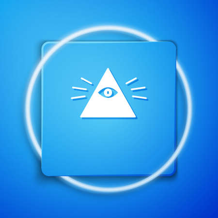 White Masons symbol All-seeing eye of God icon isolated on blue background. The eye of Providence in the triangle. Blue square button. Vector Illustration. Ilustrace