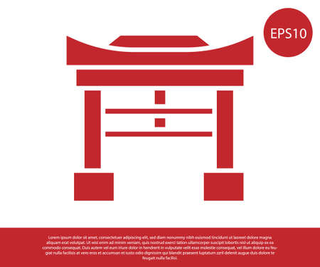 Red Japan Gate icon isolated on white background. Torii gate sign. Japanese traditional classic gate symbol. Vector Illustration.