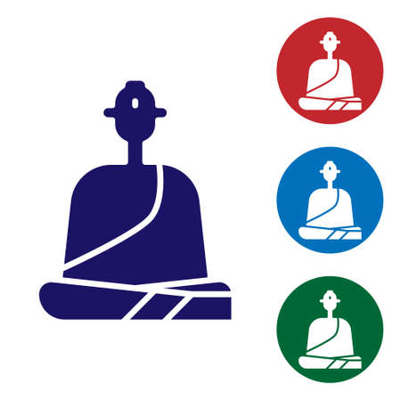Blue Buddhist monk in robes sitting in meditation icon isolated on white background. Set icons in color square buttons. Vector Illustration.