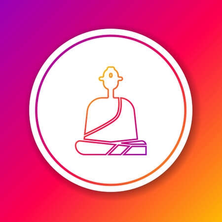 Color line Buddhist monk in robes sitting in meditation icon isolated on color background. Circle white button. Vector Illustration. Ilustrace