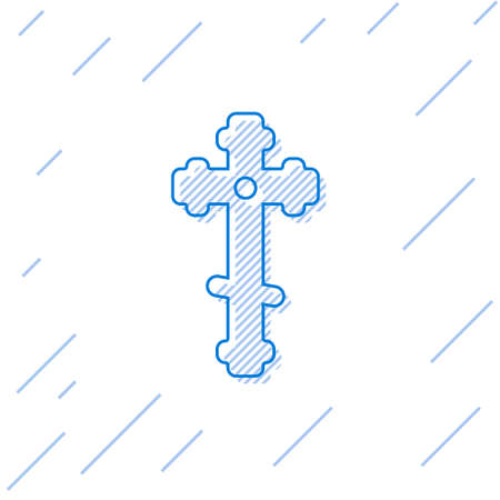 Blue line Christian cross icon isolated on white background. Church cross. Vector Illustration. Ilustração