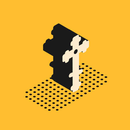 Isometric Christian cross icon isolated on yellow background. Church cross. Vector Illustration. Ilustração