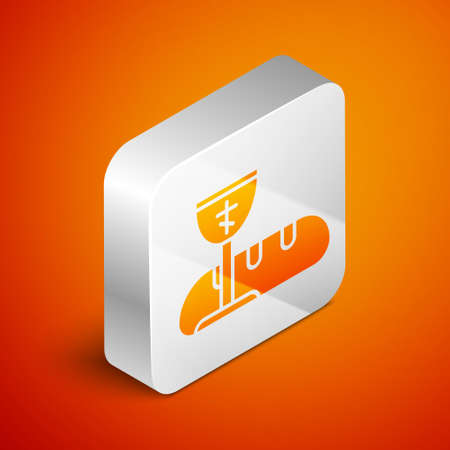 Isometric First communion symbols for a nice invitation icon isolated on orange background. Silver square button. Vector Illustration.