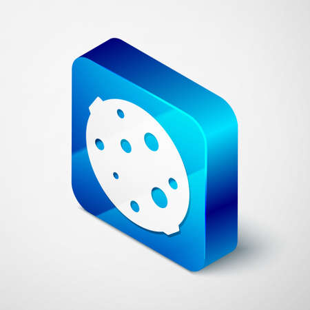 Isometric Moon icon isolated on grey background. Blue square button. Vector Illustration.