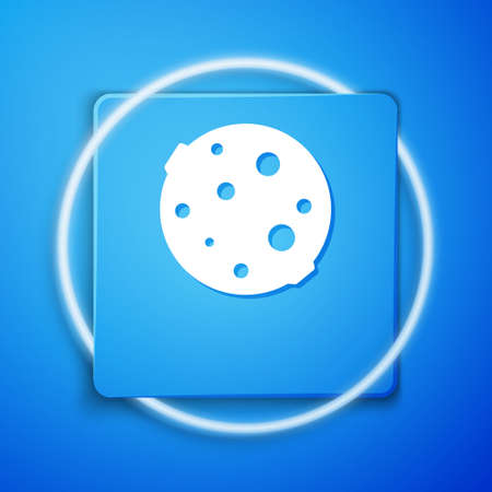 White Moon icon isolated on blue background. Blue square button. Vector Illustration. Illustration
