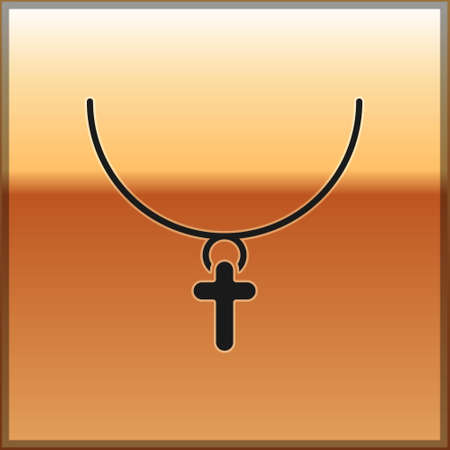 Black Christian cross on chain icon isolated on gold background. Church cross. Vector Illustration. Ilustração