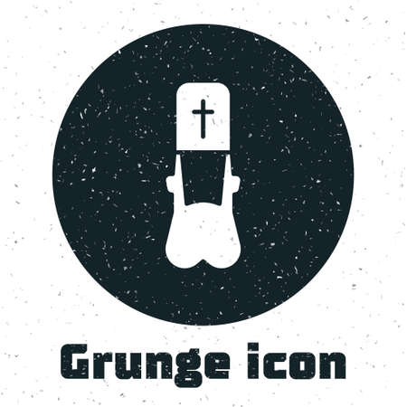 Grunge Priest icon isolated on white background. Monochrome vintage drawing. Vector Illustration.