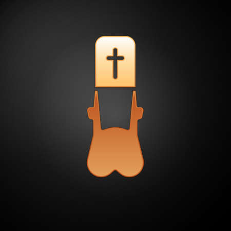 Gold Priest icon isolated on black background. Vector Illustration.