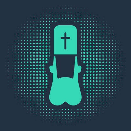 Green Priest icon isolated on blue background. Abstract circle random dots. Vector Illustration.