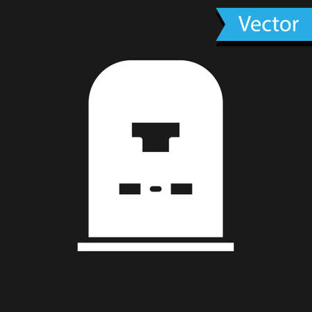 White Tombstone with RIP written on it icon isolated on black background. Grave icon. Vector Illustration.