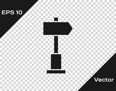 Black Road traffic sign. Signpost icon isolated on transparent background. Pointer symbol. Street information sign. Direction sign. Vector Illustration.