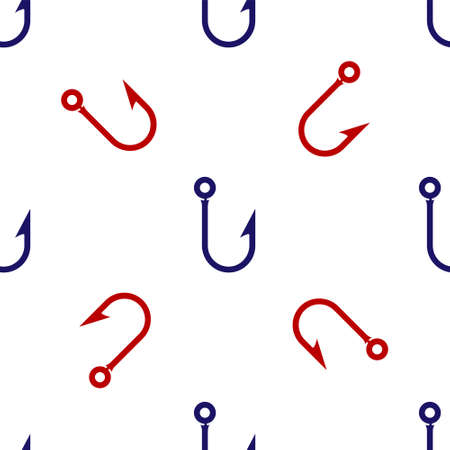 Blue and red Fishing hook icon isolated seamless pattern on white background. Fishing tackle. Vector Illustration. 矢量图像