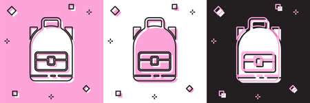 Set Hiking backpack icon isolated on pink and white, black background. Camping and mountain exploring backpack. Vector Illustration. Ilustrace