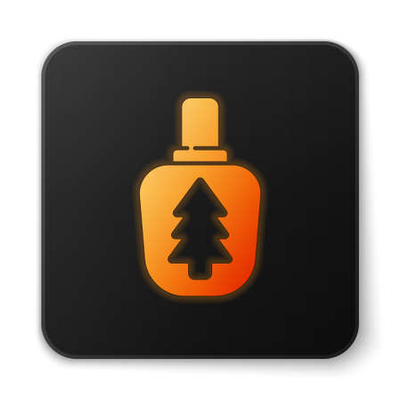 Orange glowing neon Canteen water bottle icon isolated on white background. Tourist flask icon. Jar of water use in the campaign. Black square button. Vector Illustration.