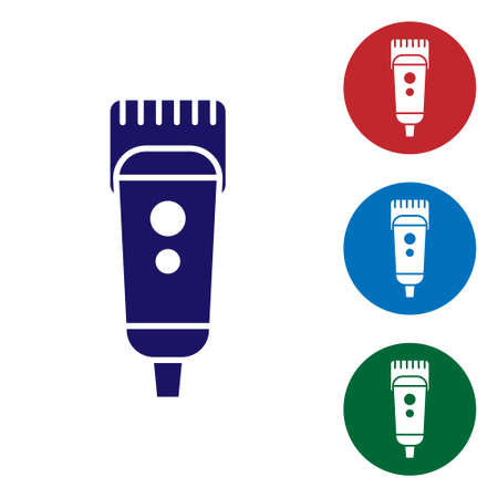 Blue Electrical hair clipper or shaver icon isolated on white background. Barbershop symbol. Set icons in color square buttons. Vector Illustration.