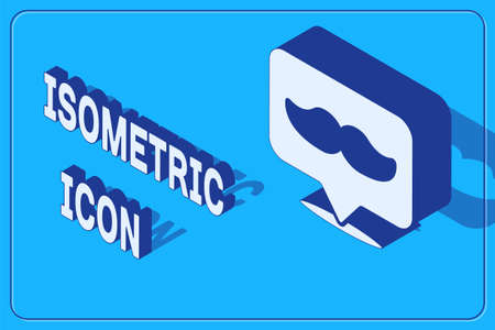 Isometric Barbershop icon isolated on blue background. Hairdresser  signboard. Vector Illustration.