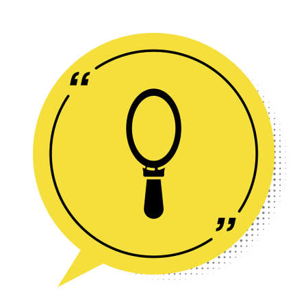 Black Hand mirror icon isolated on white background. Yellow speech bubble symbol. Vector Illustration.