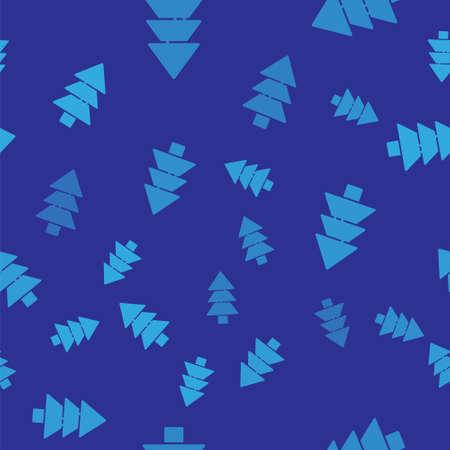 Blue Tree icon isolated seamless pattern on blue background. Forest symbol. Vector Illustration. Ilustracja