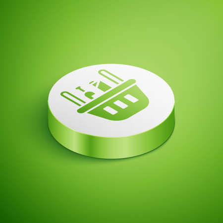 Isometric Shopping basket and food icon isolated on green background. Food store, supermarket. White circle button. Vector Illustration. 일러스트