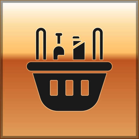 Black Shopping basket and food icon isolated on gold background. Food store, supermarket.  Vector Illustration. 일러스트
