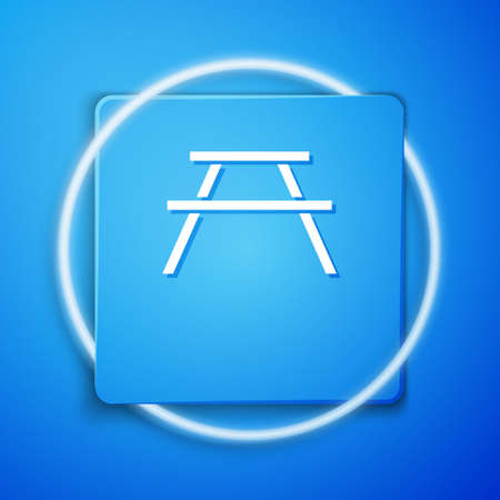 White Picnic table with benches on either side of the table icon isolated on blue background. Blue square button. Vector Illustration. 免版税图像 - 151136558