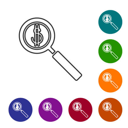 Black line Magnifying glass and dollar symbol icon isolated on white background. Find money. Looking for money. Set icons in color circle buttons. Vector Illustration.
