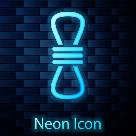 Glowing neon Climber rope icon isolated on brick wall background. Extreme sport. Sport equipment. Vector Illustration.