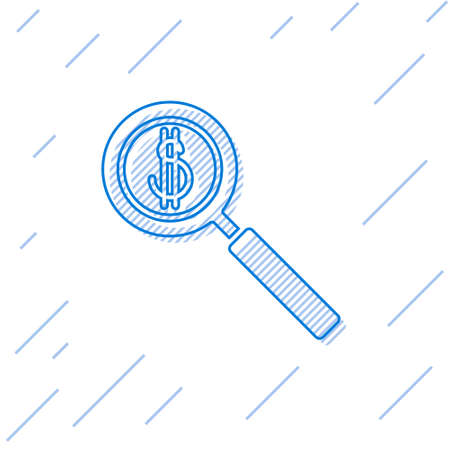 Blue line Magnifying glass and dollar symbol icon isolated on white background. Find money. Looking for money.  Vector Illustration.