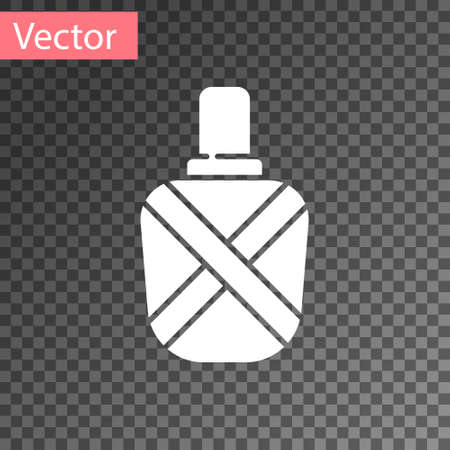White Canteen water bottle icon isolated on transparent background. Tourist flask icon. Jar of water use in the campaign. Vector Illustration. Vectores