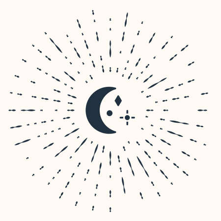 Grey Moon and stars icon isolated on beige background. Cloudy night sign. Sleep dreams symbol. Night or bed time sign. Abstract circle random dots. Vector Illustration.