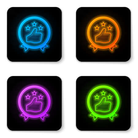 Glowing neon Consumer or customer product rating icon isolated on white background. Black square button. Vector Illustration.