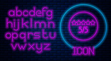 Glowing neon Consumer or customer product rating icon isolated on brick wall background. Neon light alphabet. Vector Illustration.