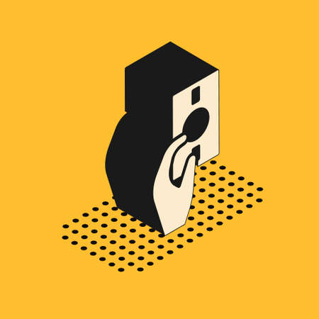 Isometric Hand holding money icon isolated on yellow background. Dollar or USD symbol. Cash Banking currency sign. Vector Illustration.