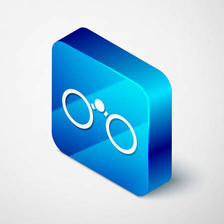 Isometric Binoculars icon isolated on grey background. Find software sign. Spy equipment symbol. Blue square button. Vector Illustration.