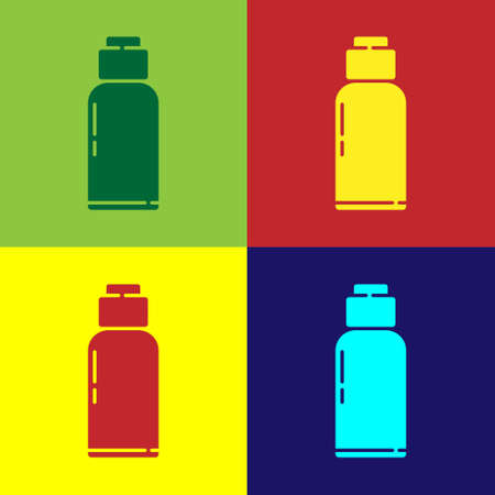 Pop art Canteen water bottle icon isolated on color background. Tourist flask icon. Jar of water use in the campaign. Vector Illustration. Vectores