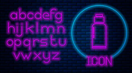 Glowing neon Canteen water bottle icon isolated on brick wall background. Tourist flask icon. Jar of water use in the campaign. Neon light alphabet. Vector Illustration. Vectores