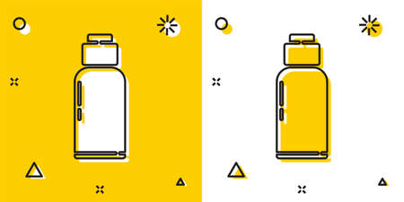 Black Canteen water bottle icon isolated on yellow and white background. Tourist flask icon. Jar of water use in the campaign. Random dynamic shapes. Vector Illustration.