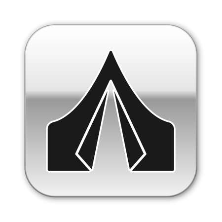 Black Tourist tent icon isolated on white background. Camping symbol. Silver square button. Vector Illustration.
