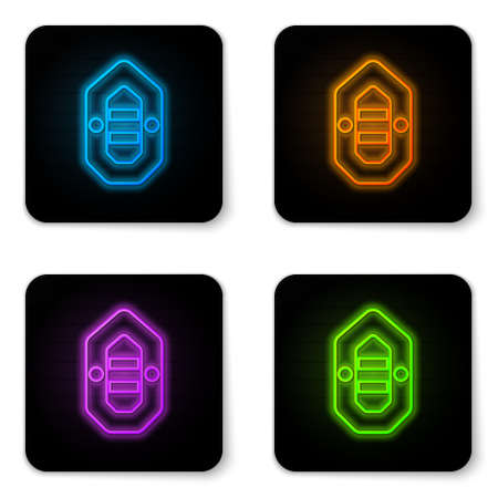 Glowing neon Rafting boat icon isolated on white background. Inflatable boat. Water sports, extreme sports, holiday, vacation. Black square button. Vector Illustration. Vectores