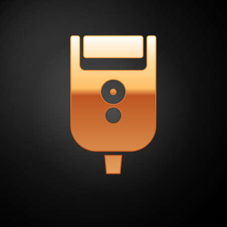 Gold Electric razor blade for men icon isolated on black background. Electric shaver. Vector Illustration.