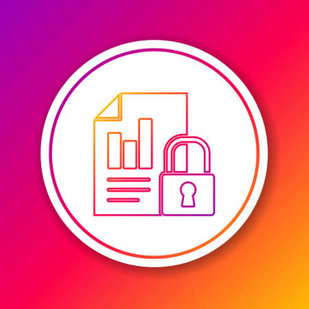 Color line Document and lock icon isolated on color background. File format and padlock. Security, safety, protection concept. Circle white button. Vector Illustration.