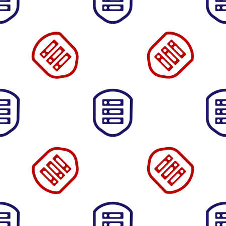 Blue and red Server with shield icon isolated seamless pattern on white background. Protection against attacks. Network firewall, router, switch, data. Vector Illustration.