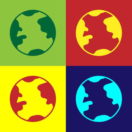 Pop art Earth globe icon isolated on color background. World or Earth sign. Global internet symbol. Geometric shapes.  Vector Illustration.