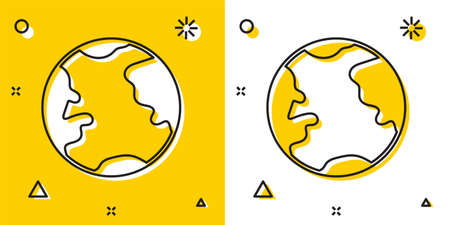 Black Earth globe icon isolated on yellow and white background. World or Earth sign. Global internet symbol. Geometric shapes. Random dynamic shapes. Vector Illustration.